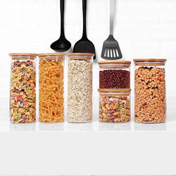 T4U 1000ml Glasbehälter Φ8cm Vorratdosen Vorratsglas aus Borosilikatglas mit Bambus-Deckel, geeignet für Lebensmittel, 3er Set - 3
