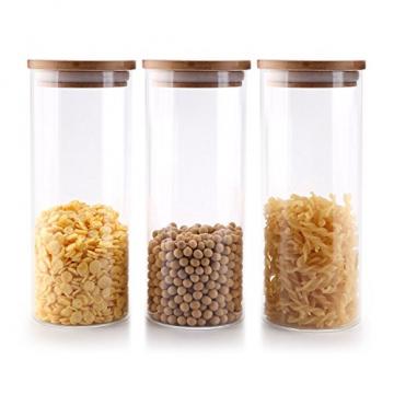 T4U 1000ml Glasbehälter Φ8cm Vorratdosen Vorratsglas aus Borosilikatglas mit Bambus-Deckel, geeignet für Lebensmittel, 3er Set - 1
