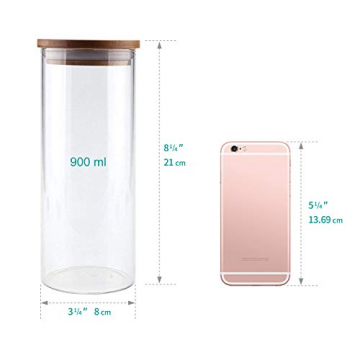 T4U 1000ml Glasbehälter Φ8cm Vorratdosen Vorratsglas aus Borosilikatglas mit Bambus-Deckel, geeignet für Lebensmittel, 3er Set - 7