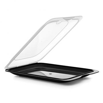 TATAY FRESH System - Hochwertige Aufschnitt-Boxen, Frischhaltedose für Aufschnitt. Optimale Aufbewahrung im Kühlschrank, 3 Stück, Maße 17 x 3.2 x 25.2 cm (3X Schwarz) - 2