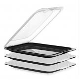 TATAY FRESH System - Hochwertige Aufschnitt-Boxen, Frischhaltedose für Aufschnitt. Optimale Aufbewahrung im Kühlschrank, 3 Stück, Maße 17 x 3.2 x 25.2 cm (3X Schwarz) - 1