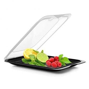 TATAY FRESH System - Hochwertige Aufschnitt-Boxen, Frischhaltedose für Aufschnitt. Optimale Aufbewahrung im Kühlschrank, 3 Stück, Maße 17 x 3.2 x 25.2 cm (3X Schwarz) - 6