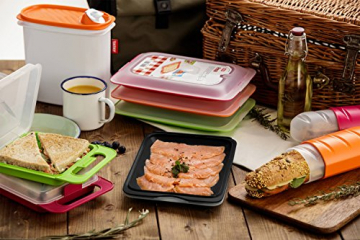 TATAY FRESH System - Hochwertige Aufschnitt-Boxen, Frischhaltedose für Aufschnitt. Optimale Aufbewahrung im Kühlschrank, 3 Stück, Maße 17 x 3.2 x 25.2 cm (3X Schwarz) - 7