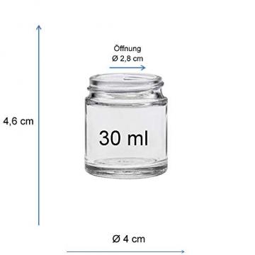 Viva Haushaltswaren - 10 x Glastiegel 30 ml, kleine Glasdosen mit Deckel als Cremetiegel, Schraubdeckelglas, Gewürzglas, Kosmetikdose etc. verwendbar (inkl. Beschriftungsetiketten) - 2