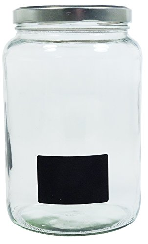 Viva-Haushaltswaren Gabriele Hesse e.K. Einmachglas 2er Set 1,7 Liter mit Schraubverschluss, Vorratsglas, Glasdose inkl. Beschriftungsetiketten (Silber) - 2