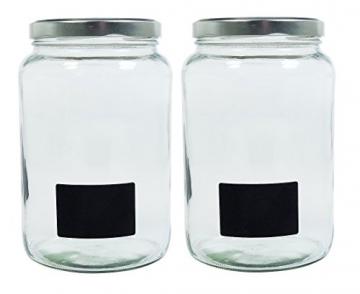 Viva-Haushaltswaren Gabriele Hesse e.K. Einmachglas 2er Set 1,7 Liter mit Schraubverschluss, Vorratsglas, Glasdose inkl. Beschriftungsetiketten (Silber) - 4