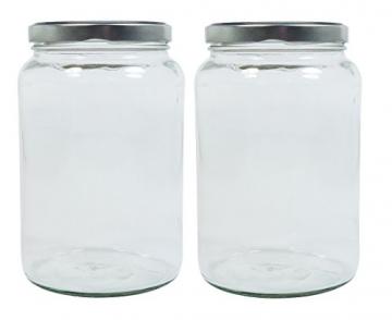 Viva-Haushaltswaren Gabriele Hesse e.K. Einmachglas 2er Set 1,7 Liter mit Schraubverschluss, Vorratsglas, Glasdose inkl. Beschriftungsetiketten (Silber) - 1