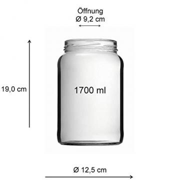 Viva-Haushaltswaren Gabriele Hesse e.K. Einmachglas 2er Set 1,7 Liter mit Schraubverschluss, Vorratsglas, Glasdose inkl. Beschriftungsetiketten (Silber) - 6