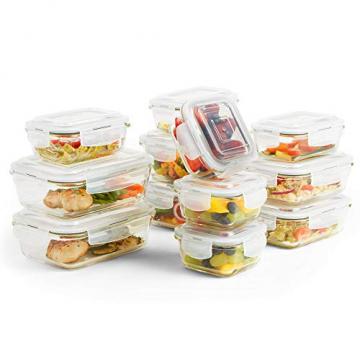 VonShef 12-teiliges Glasbehälter-Set zur Nahrungsmittelaufbewahrung mit Deckeln - 1