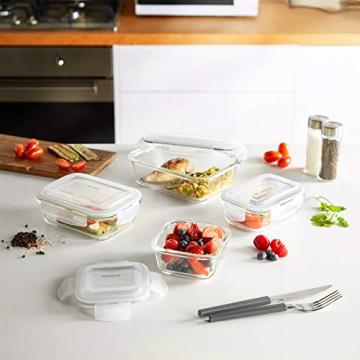 VonShef 12-teiliges Glasbehälter-Set zur Nahrungsmittelaufbewahrung mit Deckeln - 5