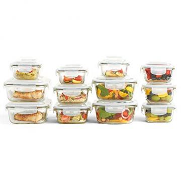 VonShef 12-teiliges Glasbehälter-Set zur Nahrungsmittelaufbewahrung mit Deckeln - 6