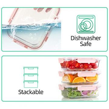 Vorratsbehälter mit Deckel [10 Teile] Glas-Frischhaltedosen, BPA-Frei, Clip & Close, Geeignet für Mikrowelle, Gefrierschrank und Spülmaschine - 2