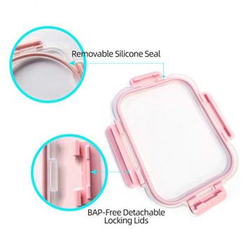 Vorratsbehälter mit Deckel [10 Teile] Glas-Frischhaltedosen, BPA-Frei, Clip & Close, Geeignet für Mikrowelle, Gefrierschrank und Spülmaschine - 4