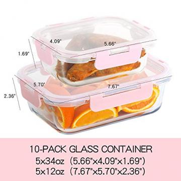 Vorratsbehälter mit Deckel [10 Teile] Glas-Frischhaltedosen, BPA-Frei, Clip & Close, Geeignet für Mikrowelle, Gefrierschrank und Spülmaschine - 6