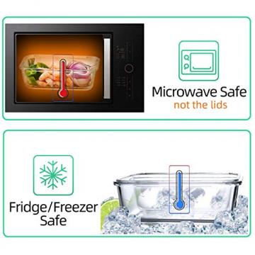 Vorratsbehälter mit Deckel [10 Teile] Glas-Frischhaltedosen, BPA-Frei, Clip & Close, Geeignet für Mikrowelle, Gefrierschrank und Spülmaschine - 7