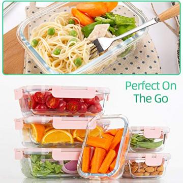 Vorratsbehälter mit Deckel [10 Teile] Glas-Frischhaltedosen, BPA-Frei, Clip & Close, Geeignet für Mikrowelle, Gefrierschrank und Spülmaschine - 8