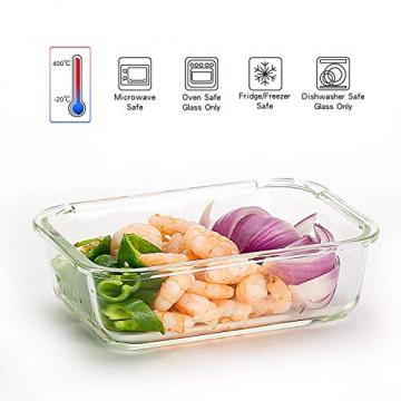 Vorratsbehälter mit Deckel (5-Teiliges of 1040 ml) Rechteckig Glas-Frischhaltedosen, Luftdicht, Lunchboxen - 2