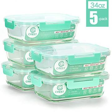 Vorratsbehälter mit Deckel (5-Teiliges of 1040 ml) Rechteckig Glas-Frischhaltedosen, Luftdicht, Lunchboxen - 1