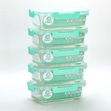 Vorratsbehälter mit Deckel (5-Teiliges of 1040 ml) Rechteckig Glas-Frischhaltedosen, Luftdicht, Lunchboxen - 6