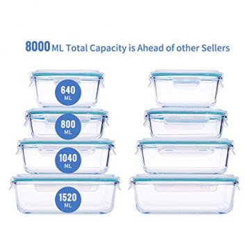 Wemk Glas Frischhaltedosen mit Deckel, 8 Teiliges Set, 8000 ml Großes Fassungsvermögen, Auslaufsichere Lebensmittel Aufbewahrungsbehälter, BPA-frei, für Home Küche oder Schulen, Büros, Picknicks - 2