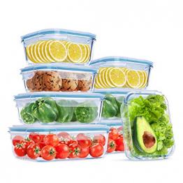 Wemk Glas Frischhaltedosen mit Deckel, 8 Teiliges Set, 8000 ml Großes Fassungsvermögen, Auslaufsichere Lebensmittel Aufbewahrungsbehälter, BPA-frei, für Home Küche oder Schulen, Büros, Picknicks - 1