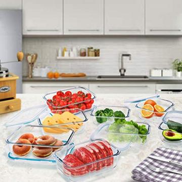 Wemk Glas Frischhaltedosen mit Deckel, 8 Teiliges Set, 8000 ml Großes Fassungsvermögen, Auslaufsichere Lebensmittel Aufbewahrungsbehälter, BPA-frei, für Home Küche oder Schulen, Büros, Picknicks - 4