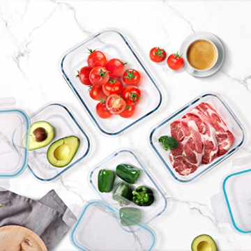 Wemk Glas Frischhaltedosen mit Deckel, 8 Teiliges Set, 8000 ml Großes Fassungsvermögen, Auslaufsichere Lebensmittel Aufbewahrungsbehälter, BPA-frei, für Home Küche oder Schulen, Büros, Picknicks - 5