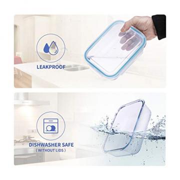 Wemk Glas Frischhaltedosen mit Deckel, 8 Teiliges Set, 8000 ml Großes Fassungsvermögen, Auslaufsichere Lebensmittel Aufbewahrungsbehälter, BPA-frei, für Home Küche oder Schulen, Büros, Picknicks - 6