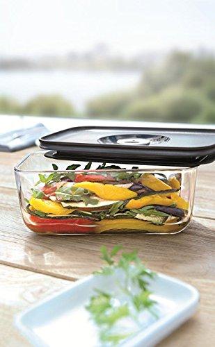 WMF Depot Fresh Vorratsdose, 13 x 10 cm, rechteckig, Glas, Vorratsglas, luftdichter Aroma-Deckel, Frische-Ventil, Frischhaltedose zum Vorbereiten, Aufbewahren und Servieren - 13