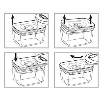 WMF Depot Fresh Vorratsdose, 13 x 10 cm, rechteckig, Glas, Vorratsglas, luftdichter Aroma-Deckel, Frische-Ventil, Frischhaltedose zum Vorbereiten, Aufbewahren und Servieren - 3