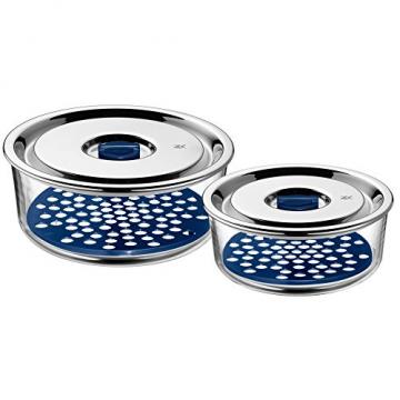 WMF Top Serve Frischhaltedosen-Set, 2-teilig rund, Schale mit Abtropfgitter, luftdichtem Deckel, Frische-Ventil, Box zum Vorbereiten, Aufbewahren und Servieren - 1
