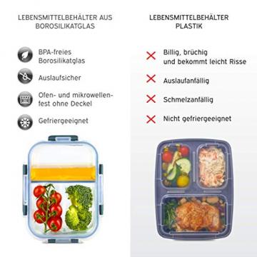 Zoë&Mii hochwertige Glas Frischhaltedose mit Deckel – 8 Teiliges, 3-Fach, Vorratsdosen Glas, Set mit TITAN Deckel – Auslaufsichere Meal Prep Container aus Glas – Praktisches Mikrowellengeschirr-1050ml - 7