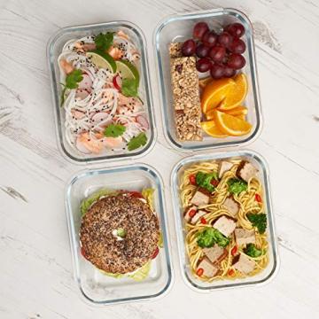 Zoë&Mii Lebensmittelbehälter aus Glas 8 teilige Set 880 ml - Hochwertige und luftdichte Glasschalen BPA-frei - Frischhaltedosen Vorratsdosen mit Smart Lock Deckel - Meal Prep, Glasschüssel mit Deckel - 3