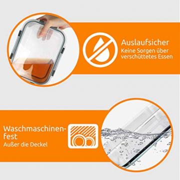Zoë&Mii Lebensmittelbehälter aus Glas 8 teilige Set 880 ml - Hochwertige und luftdichte Glasschalen BPA-frei - Frischhaltedosen Vorratsdosen mit Smart Lock Deckel - Meal Prep, Glasschüssel mit Deckel - 4