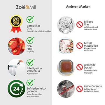 Zoë&Mii Lebensmittelbehälter aus Glas 8 teilige Set 880 ml - Hochwertige und luftdichte Glasschalen BPA-frei - Frischhaltedosen Vorratsdosen mit Smart Lock Deckel - Meal Prep, Glasschüssel mit Deckel - 6